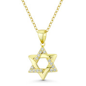 Star of David CZ Crystal Accent Pendant in .925 Sterling Silver w/ 14k Yellow Gold - GN-JS007-SLY