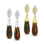 Fiery-Black Synthetic Opal Dangling Earrings w/ Screwbacks in 14k White or Yellow Gold - BD-DE008-OP_Black4-14