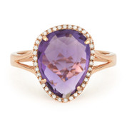 3.87ct Fancy Checkerboard Amethyst & Round Cut Diamond Halo Right-Hand Ring in 14k Rose Gold
