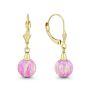 Fiery Angel-Skin Pink Synthetic Opal Leverback-Post Dangling Ball Earrings in 14k Yellow Gold - BD-DE006-OP_Pink1-14Y