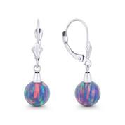 Fiery Lavender Synthetic Opal Leverback-Post Dangling Ball Earrings in 14k White Gold - BD-DE006-OP_Lavender-14W