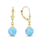 Fiery Azure Blue Lab Opal Round Ball 14k Yellow Gold Leverback Dangling Earrings - BD-DE006-OP_Blue1-14Y