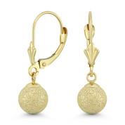 5mm, 6mm, 7mm, 8mm Matte / Satin-Finish Hollow Ball Leverback Drop Earrings in 14k Yellow Gold - BD-DE003-14Y
