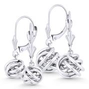 8mm or 10mm Love Knot Charm Dangling Earrings w/ Leverbacks in 14k White Gold - BD-DE004-14W