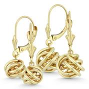 8mm or 10mm Love Knot Charm Dangling Earrings w/ Leverbacks in 14k Yellow Gold - BD-DE004-14Y