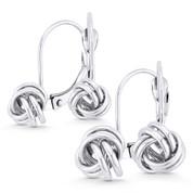 8mm or 10mm Love Knot Charm Leverback Drop Earrings in 14k White Gold - BD-DE001-14W