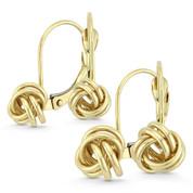8mm or 10mm Love Knot Charm Leverback Drop Earrings in 14k Yellow Gold - BD-DE001-14Y