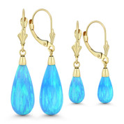 Fiery Azure Blue Synthetic Opal Leverback-Post Dangling Tear-Drop Earrings in 14k Yellow Gold -