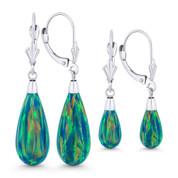 Fiery Peacock Blue Synthetic Opal Leverback-Post Dangling Tear-Drop Earrings in 14k White Gold - BD-DE005-OP_Blue3-14W