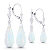 Fiery White Synthetic Opal Leverback-Post Dangling Tear-Drop Earrings in 14k White Gold - BD-DE005-OP_White1-14W