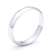 3mm Plain Dome Wedding Band in Plain Solid .925 Sterling Silver - PWB-001-3MM-SLP