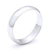 5mm Plain Dome Wedding Band in Plain Solid .925 Sterling Silver - PWB-001-5MM-SLP
