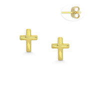 Matte & Faceted 6x4.5mm Christian Cross Stud Earrings with Push-Back Posts in 14k Yellow Gold - BD-ES045-14Y