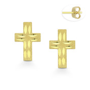 Matte & Faceted 11.5x7.5mm Christian Cross Stud Earrings with Push-Back Posts in 14k Yellow Gold - BD-ES047-14Y