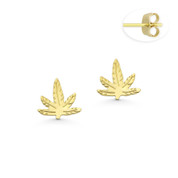 Marijuana Leaf Charm 7mmx7mm Flat Stud Earrings with Push-Back Posts in 14k Yellow Gold - BD-ES026-14Y