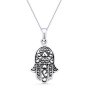 Hamsa Hand Evil Eye Charm Pendant & Chain Necklace in Antique-Style .925 Sterling Silver - EYESP92-SLO