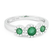 0.54ct Round Cut Emerald & Diamond Pave Three-Stone Halo Ring in 14k White Gold