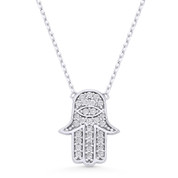 Hamsa Hand Evil Eye Charm CZ Crystal Pendant & Necklace in .925 Sterling Silver - EYESN68-SL