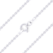 1.8mm Polished Ball Bead Link Italian Chain Anklet in .925 Sterling Silver - CLA-BEAD22-180-SLP