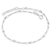 """3mm Ball Bead 1.7mm Figaro Link .925 Sterling Silver 9-10"""" Italian Chain Anklet - CLA-BEAD37-3MM-SLP"""