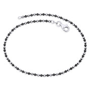 2mm Catena Ball Bead Italy .925 Sterling Silver & Black Rhodium PVD Chain Anklet - CLA-BEAD45-002_2C-SLDW