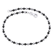 3mm Catena Ball Bead Italy .925 Sterling Silver & Black Rhodium PVD Chain Anklet - CLA-BEAD45-003_2C-SLDW