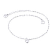 6mm Heart Love Charm, Bead, & Cable Link Italy .925 Sterling Silver Chain Anklet - CLA-CHARM9-SLP