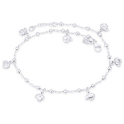 Elephant 3mm Ball Bead 1.3mm Twist Chain Italy .925 Sterling Silver Charm Anklet - CLA-CHARM11-SLP
