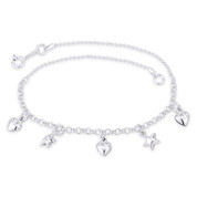 Heart, Star, Ball Bead & Rolo Link Chain Italy .925 Sterling Silver Charm Anklet - CLA-CHARM12-SLP