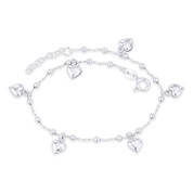 7mm Heart Love Charm, Bead, & Cable Link Italy .925 Sterling Silver Chain Anklet - CLA-CHARM15-SLP