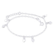 5mm Heart Love Charm Flat Oval Cable Link Italy 925 Sterling Silver Chain Anklet - CLA-CHARM16-SLP