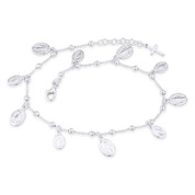 Holy Mother Mary Miraculous Medal Marian Cross .925 Sterling Silver Charm Anklet - CLA-CHARM18-SLP