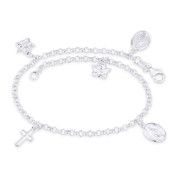 Holy Mother Mary Miraculous Medal Angel Cross .925 Sterling Silver Charm Anklet - CLA-CHARM19-SLP
