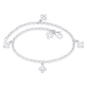 St. George Greek Cross & Rolo Link Chain Italy .925 Sterling Silver Charm Anklet - CLA-CHARM20-SLP