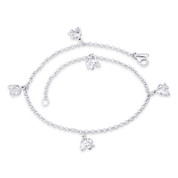 6x8mm Elephant & 2.3mm Rolo Chain Italy .925 Sterling Silver Animal Charm Anklet - CLA-CHARM21-SLP