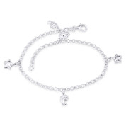 Dolphin, Star, & 3mm Rolo Link Chain Charm Anklet in Italy .925 Sterling Silver - CLA-CHARM22-SLP