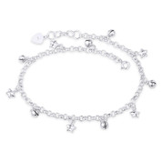 Puffed Star, Ringing Balls & 4mm Rolo Chain Charm Anklet in .925 Sterling Silver - CLA-CHARM23-SLP