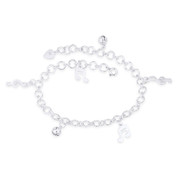 G-Clef Ringing Balls Music Notes & Cable Chain .925 Sterling Silver Charm Anklet - CLA-CHARM24-SLP