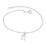 9x8mm Music Note 1.4mm Faceted Bead Link Chain .925 Sterling Silver Charm Anklet - CLA-CHARM26-SLP