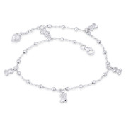 Puffed & Flat Heart Figaro Link Chain Charm Anklet in Italy .925 Sterling Silver - CLA-CHARM28-SLP