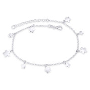 5-Petal Flower & 2mm Rolo Link Chain Italy Charm Anklet in .925 Sterling Silver - CLA-CHARM30-SLP