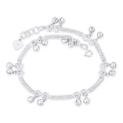 1.7mm Curb, 6mm Ring Link Chain & 5mm Ringing Charm .925 Sterling Silver Anklet - CLA-CHARM35-SLP