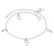 Dolphin, Crystal Bead & 1.8mm Rolo Chain Italy .925 Sterling Silver Charm Anklet - CLA-CHARM44-SLP