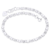 5mm Double-Row Oval Chain w/ Heart & Flower Charm Anklet in .925 Sterling Silver - CLA-CHARM45-SLP