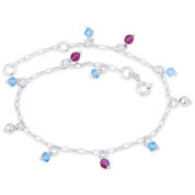 Crystal, Hollow Ball & 2.2mm Oval Chain Italy .925 Sterling Silver Charm Anklet - CLA-CHARM46-SLP