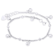 3mm Curb, 4mm Bead Link Chain & 6mm Ringing Charm Anklet in .925 Sterling Silver - CLA-CHARM48-SLP