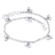 Rolo & Spiral-on-Coil Chain w/ 5mm Ringing Ball 925 Sterling Silver Charm Anklet - CLA-CHARM49-SLP