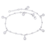 Ladybug, Ball Bead, & Twist Cable Chain Italy .925 Sterling Silver Charm Anklet - CLA-CHARM64-SLP