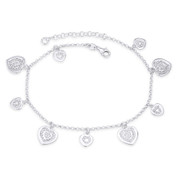 12mm & 8mm Heart w/ 2mm Rolo Chain Italy .925 Sterling Silver Love Charm Anklet - CLA-CHARM67-SLP