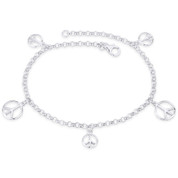 9mm & 12mm Peace Sign Charm 3mm Rolo Link Chain Italy 925 Sterling Silver Anklet - CLA-CHARM70-SLP